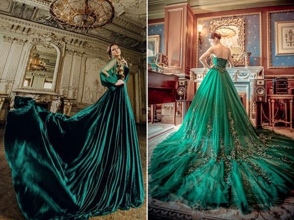 Váy cưới màu xanh ngọc bích