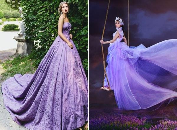 Váy cưới màu tím