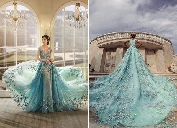 Váy cưới màu xanh pastel