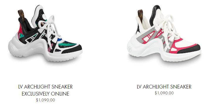Giá bán giày LV nữ sneaker Archlight từ 25 – 30 triệu đồng