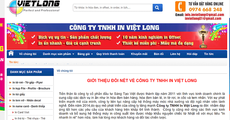 Website Công ty TNHH in Việt Long