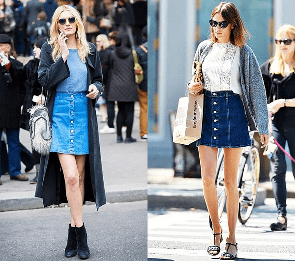 Ấm áp với váy jean kết hợp với áo khoác dáng dài