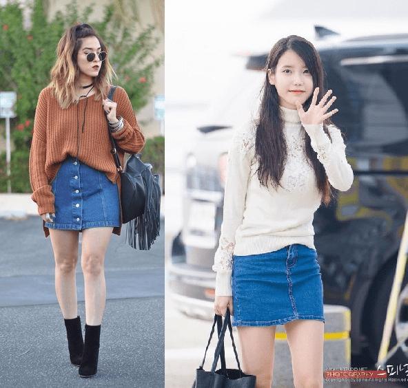 Nữ tính với áo sweater và váy jean bút chì
