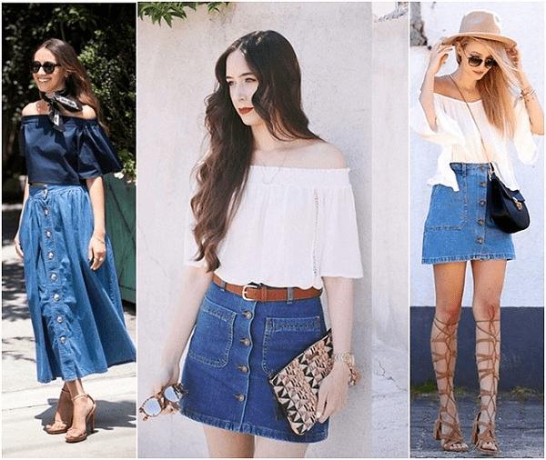 Áo trễ vai + váy jean biến tấu mọi phong cách