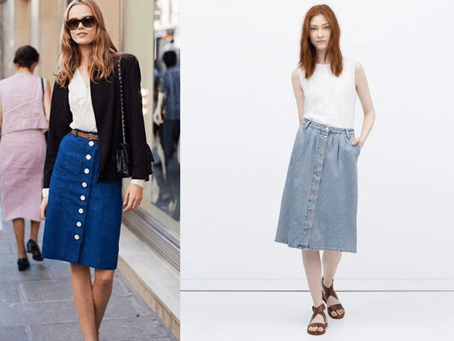 Chân váy jean midi với nhiều kiểu kế hợp đa dạng